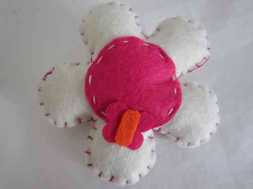 Cute Flower Felt Badge - White