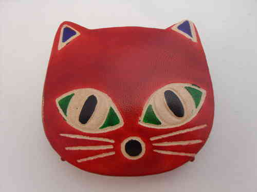 Leather Cat Purse-Red