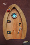 Large Chunky Fairy Door- Brown - Blue window