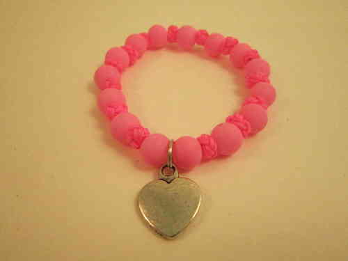 Elasticated pink Bead and Knot Heart Charm Bracelet