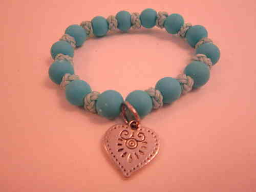 Elasticated Blue Bead and Knot Heart Charm Bracelet
