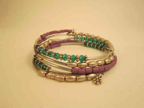 Silver, Purple and Teal Wrap Bracelet