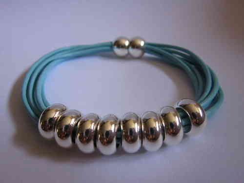 Light Blue Leather and Silver Magnetic Bracelet