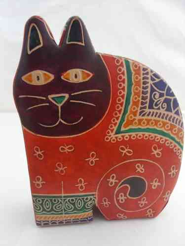 Leather Cat Money Box -Red