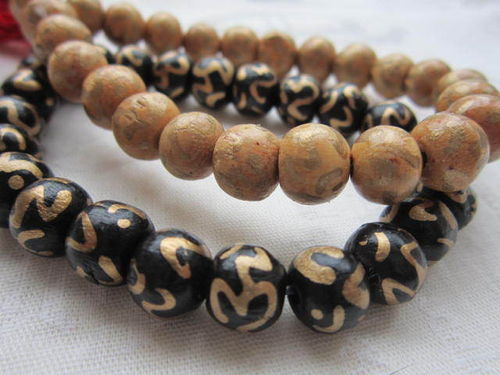 Wooden Power Bead Bracelet -Om
