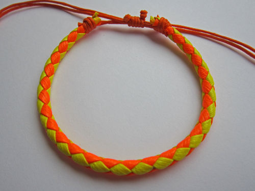 Leather Friendship Bracelet - Orange & Yellow