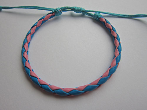 Leather Friendship Bracelet - Pink & Blue