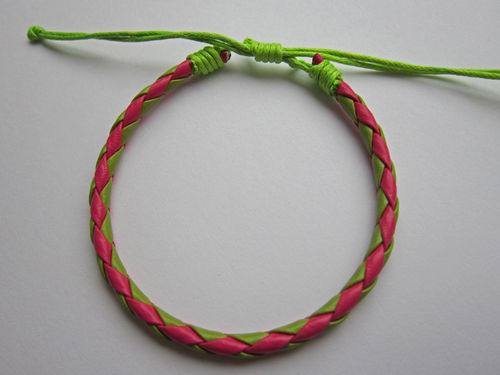 Leather Friendship Bracelet - Pink & Green