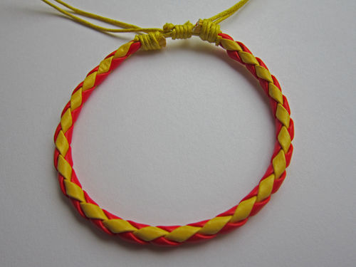 Leather Friendship Bracelet - Red & Yellow