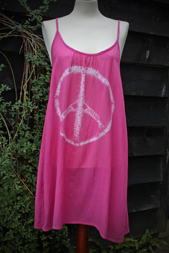 Strappy Tie Dye Peace Dress- Pink - 16