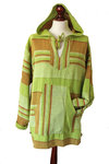 Green Striped Hooded Top - L