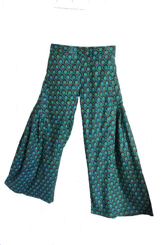 Green Cotton Flare Trousers