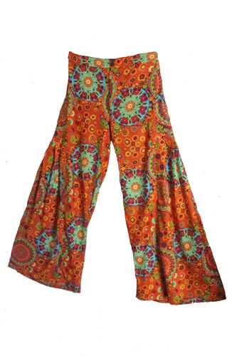 Orange Cotton Flare Trousers