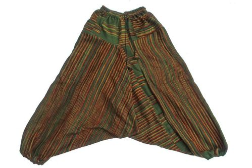 Fleece Ali Baba Harem Trousers - Green