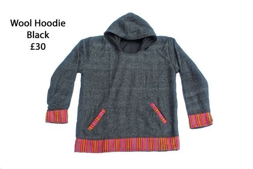 Black Fleece Lined Wool Hoodie