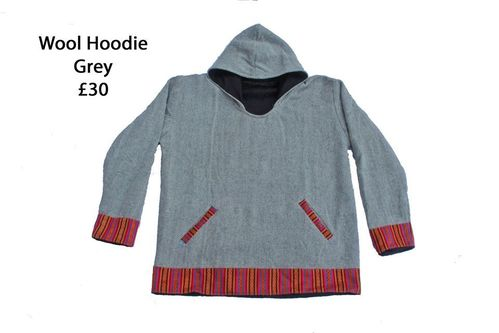 Grey Fleece Lined Wool Hoodie