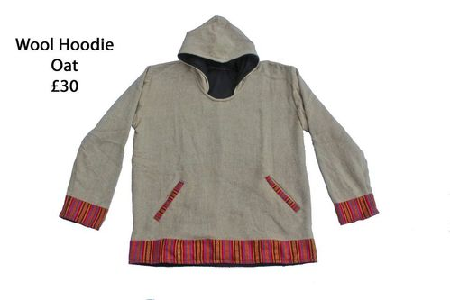 Oatmeal Fleece Lined Wool Hoodie
