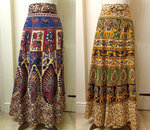 Long Cotton Wrap Skirt - Beige